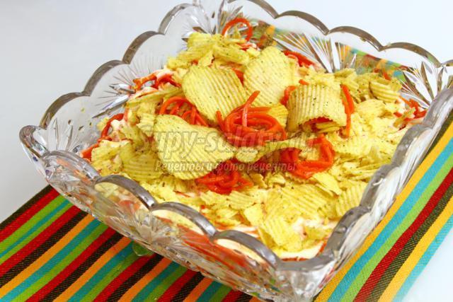 Салаты с чипсами рецепты с фото пошагово