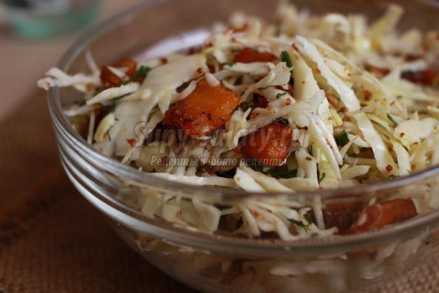салат из белокочанной капусты, тыквы и семечек
