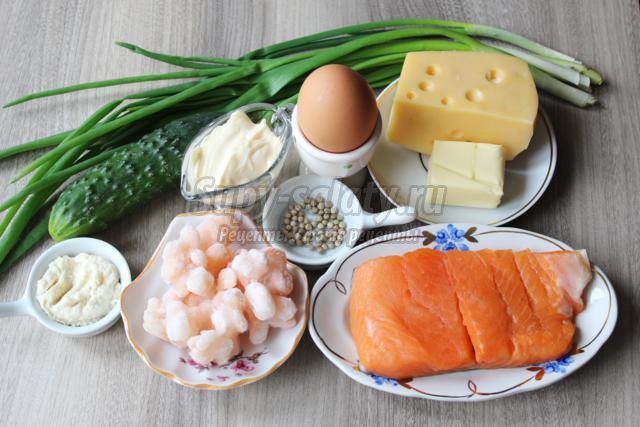 новогодний салат с красной рыбой. Часы