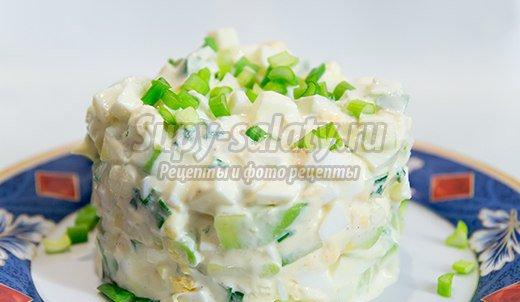Салат из огурца и яйца с