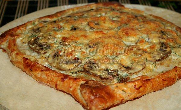 Пирог с грибами в духовке открытый пошаговый рецепт с