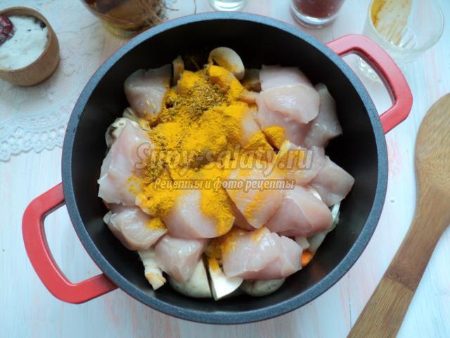 куриная грудка с овощами в томатном соусе
