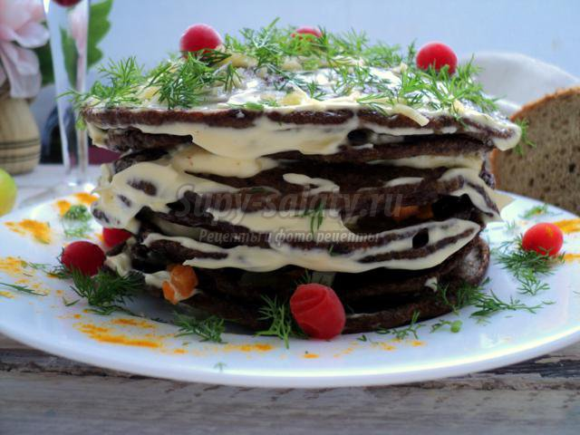 печеночно-грибной торт