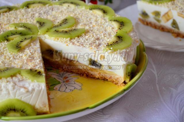 Торт с бананом и киви рецепт с фото