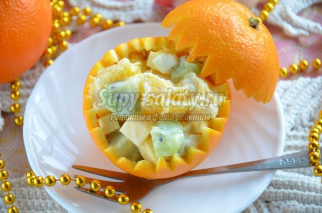 Салат в апельсине с рецептом