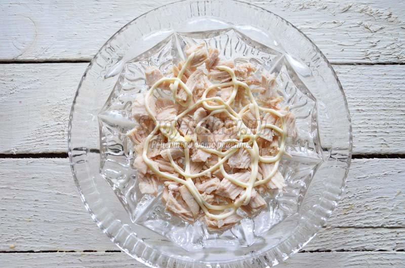 рецепт салата курица с жареными грибами