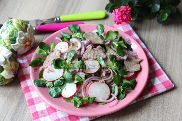 салат с языком и редисом
