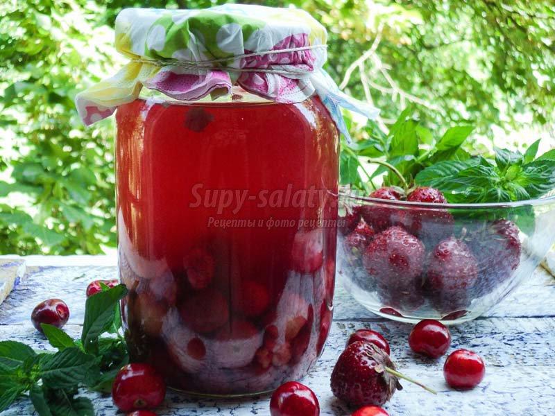 клубничный компот рецепт с фото