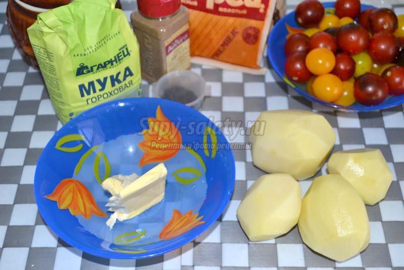 картофельное пюре с помидорами