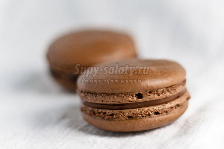 Макаруны на меренге с классическим шоколадным ганашем