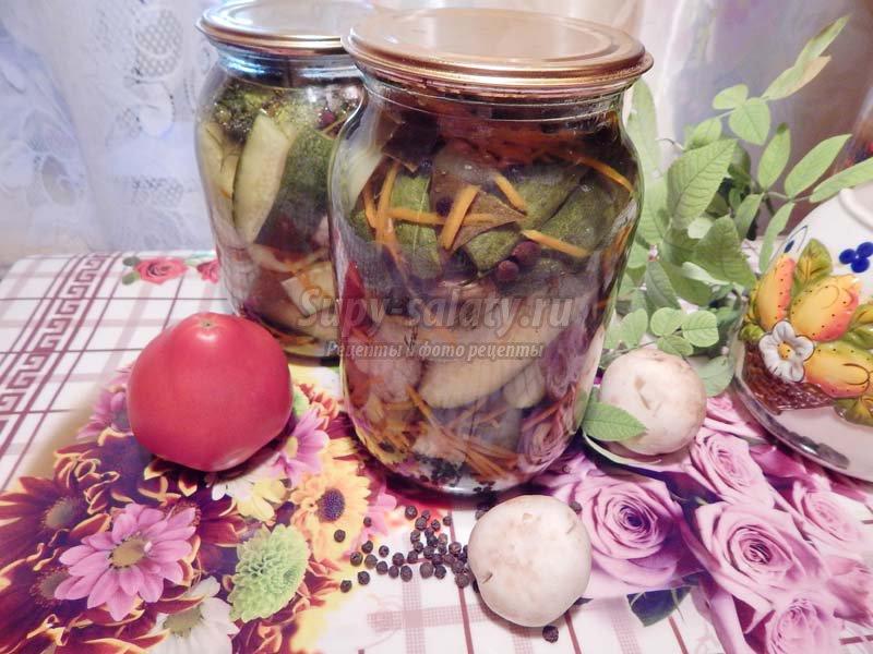 салат с маринованными грибами и огурцами