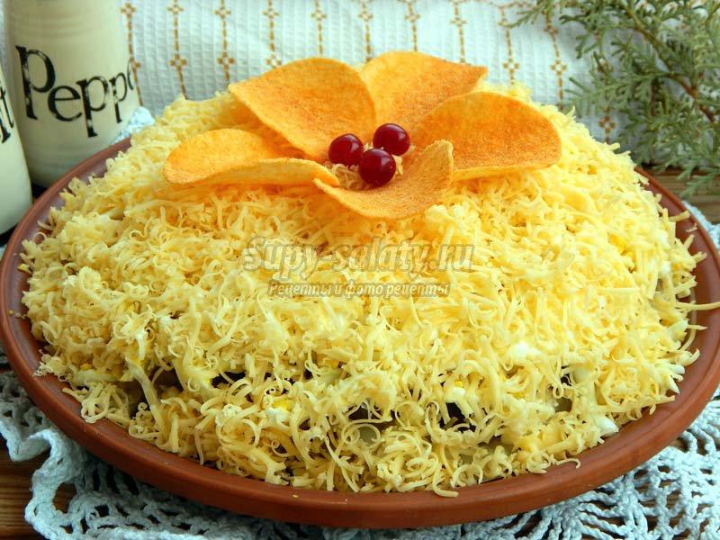 Салаты рецепты с сухариками или с чипсами