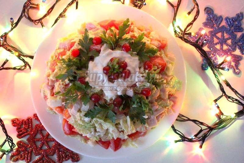 салат с копченой курицей и помидорами рецепт