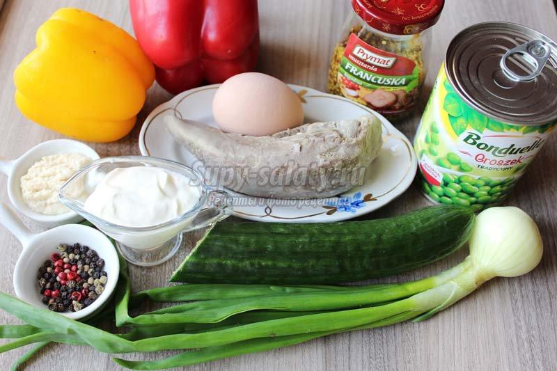 салат с языком горошком огурцами