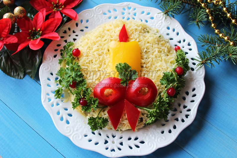 салат с языком и горошком