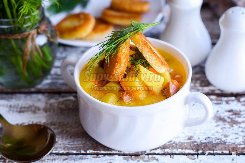 суп с колбасой и грибами рецепт