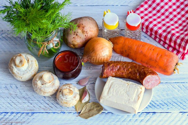 суп с колбасой и грибами