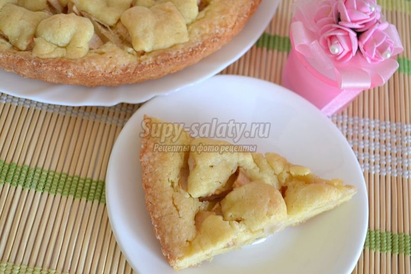 песочный пирог с яблоками рецепт с фото