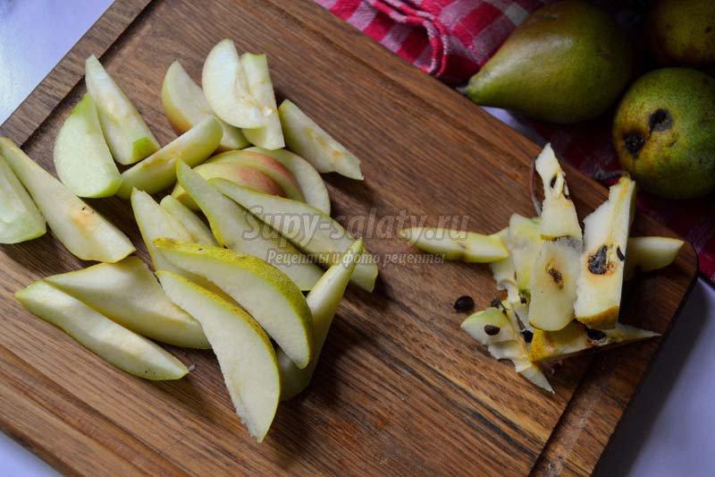 шарлотка с яблоками и грушами рецепт