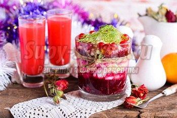 салат со свеклой и ветчиной