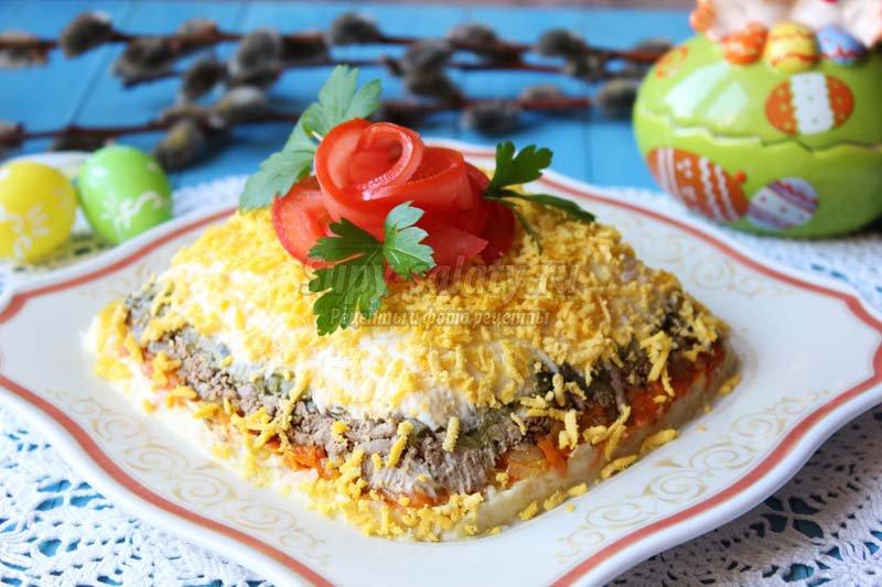 Рецепты праздничных салатов с печенью