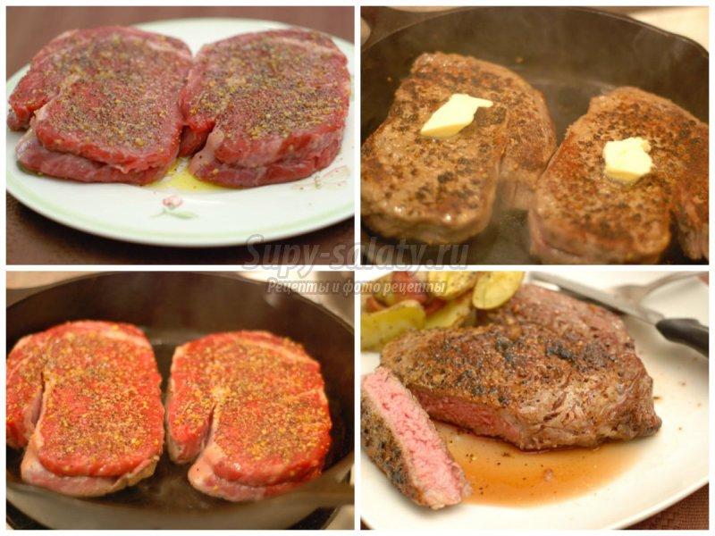 Как приготовить стейк из говядины на сковороде: золотые рецепты с фото